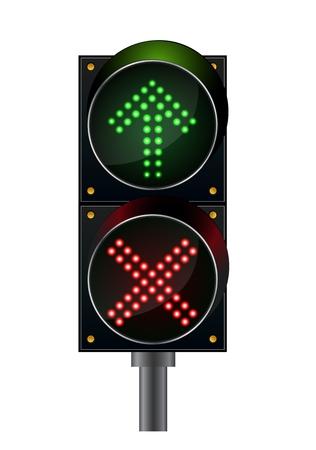 Traffic lights top arrow with crossword light
