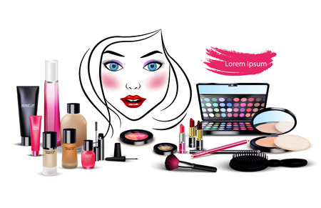 lens brush: Set of cosmetics with beautiful woman face on isolated background Illustration