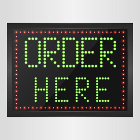 order here: Shining retro light banner Order here on a black background