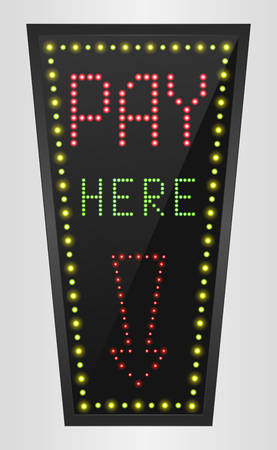 color registration: Shining retro light banner Pay here on a black background