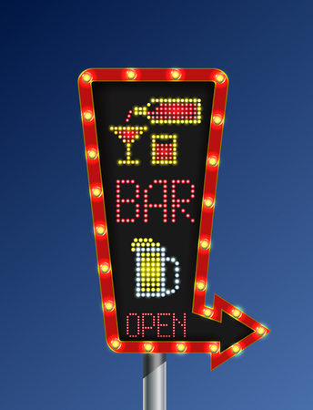 Retro freccia banner luminoso open bar sfondo blu
