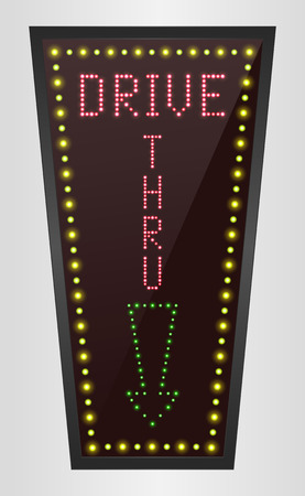 shining: Shining retro light banner Drive THRU on a brown background Illustration