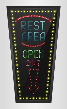 at rest: Retro sign with blue lights and the word rest area