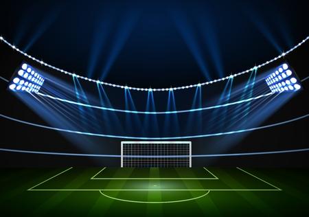 football stadium: Horizontal Background for night football stadium in the spotlight