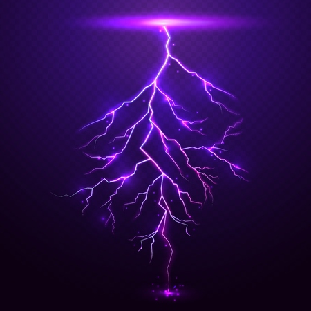 natural forces: Lightning on purple background with transparency for design
