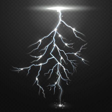 natural forces: Lightning on black background with transparency for design