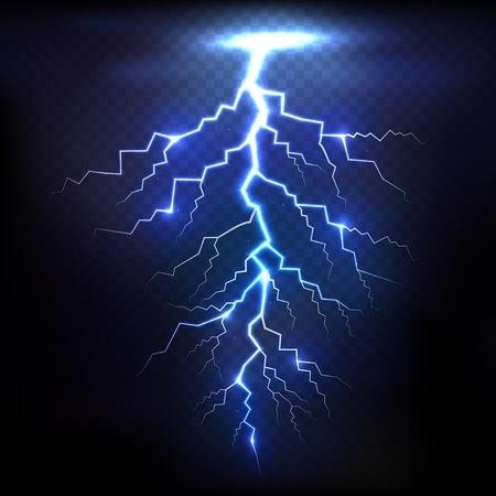 zapping: Lightning of blue on black background with transparency for design