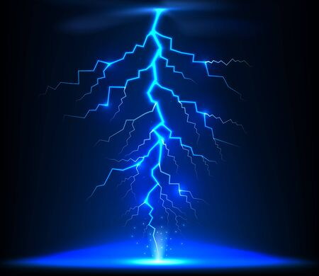 zapping: Lightning of blue with a black background Stock Photo