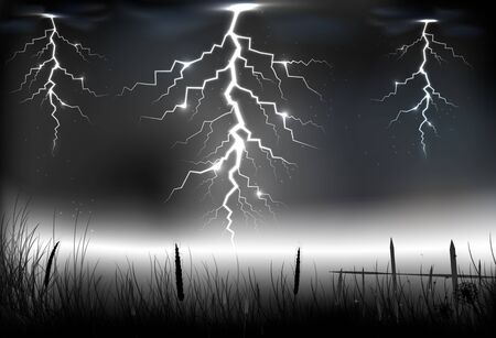 zapping: Lightning storm with on a dark background Illustration