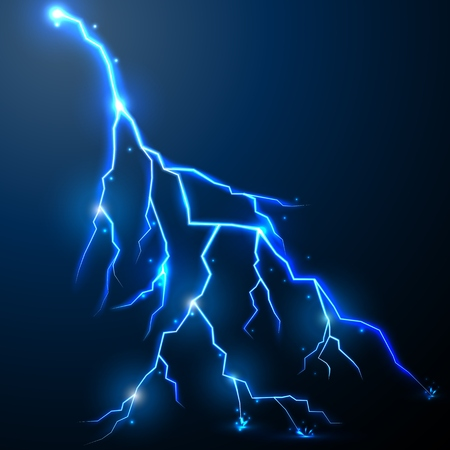 zapping: Lightning of blue with a black background Illustration