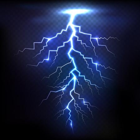 natural forces: Lightning of blue on black background with transparency for design