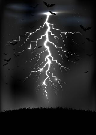 zapping: Lightning storm background with a bats Illustration
