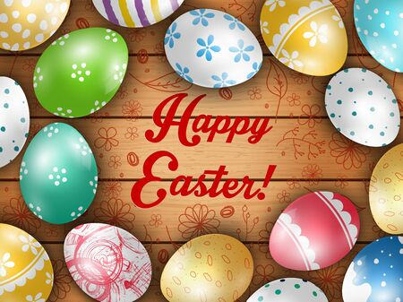 greeting card background: Easter greeting card with color eggs on a wooden background Illustration