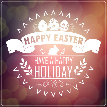greeting card background: Happy Easter! Typography greeting card. Blurred background