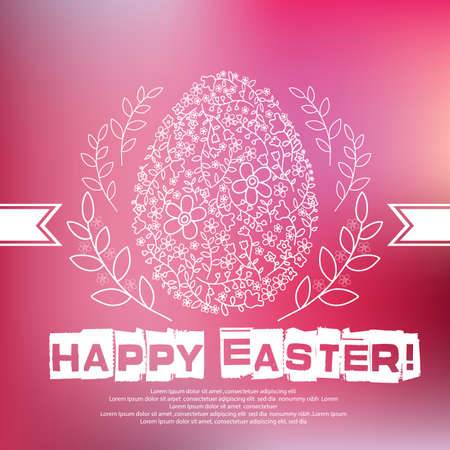 text background: Floral white Easter egg on pink background