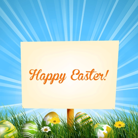 easter sign: Easter sign background in meadow with sun rays and Easter eggs in the grass
