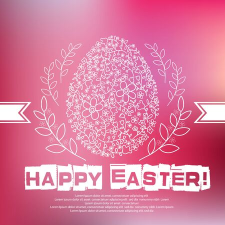 plated: Floral white Easter egg on pink background