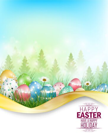 Easter eggs background with space for text