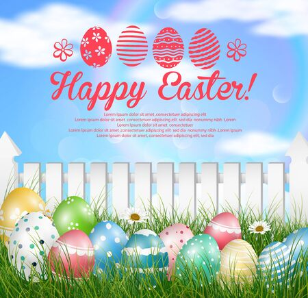 easter background: Easter eggs on a grass field with flower on wooden white fence background