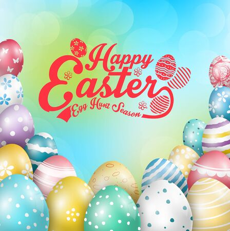 blue green background: Easter colorful eggs with design Green Blue Creative Background