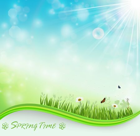 butterfly background: Springtime meadow background with flowers and butterflies
