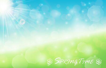sunbeams: Nature spring bokeh background with sunbeam