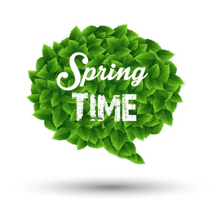 springtime: Springtime greeting in a speech bubble of green leaves