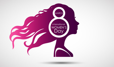 Women's Day greeting card on purple background with design of a women face and text 8th March Women Day