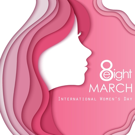Happy Women's Day Greeting Card with Female Face