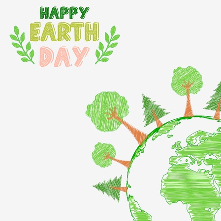 thunderstorms: Earth day and the environment with shape paintings Stock Photo