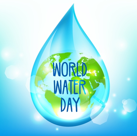World Water Day on blue backrgound Stock Illustratie