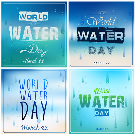 environmental awareness: Set of blue backgrounds with text for world water day