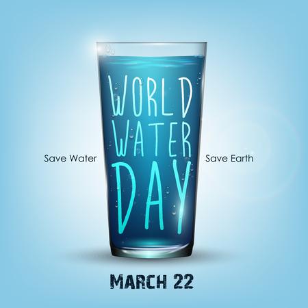 Sfondo blu chiaro con bicchiere d'acqua