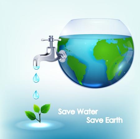 flush: World water inside bowl with taps flush of leaves Illustration