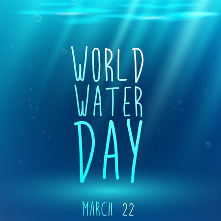 fondo azul con el texto bajo el agua y el agua para el día mundial del agua