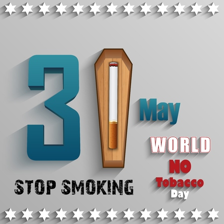 inhalation: World No Tobacco Day with stylish text and cigarette over wood on gray background