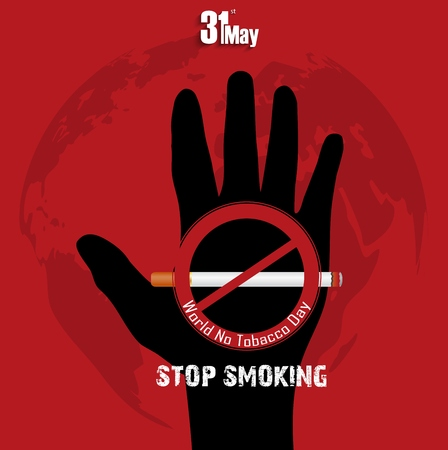 abstain: Black hand with word stop smoking on red background