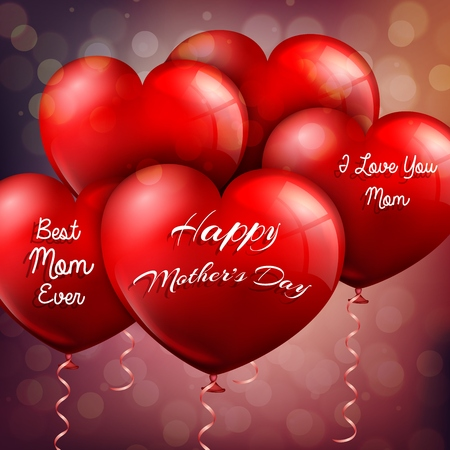 red balloons: Happy Mothers Day with red balloons hearts