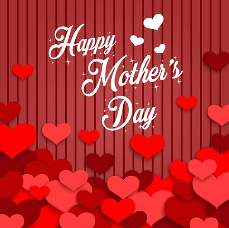 red hearts: Happy Mothers Day with red hearts on red wooden background