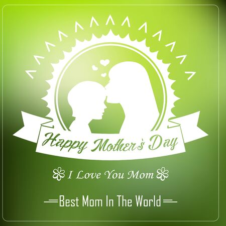 love mom: Happy Motherss Day with Silhouette of a mother and child Typographical Background