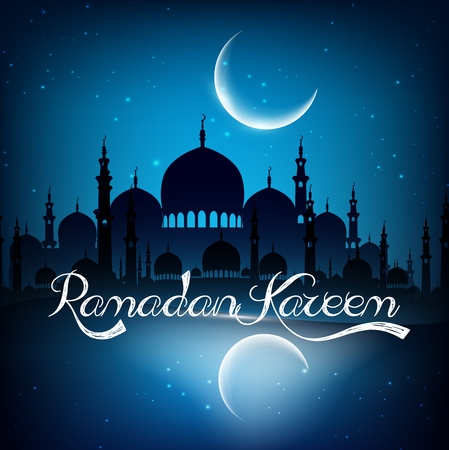 holy night: Ramadan kareem background with mosque on night Stock Photo