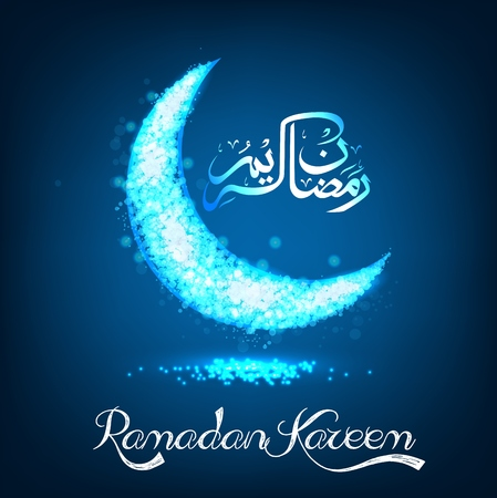 crescent: Ramadan Kareem on blue bokeh crescent