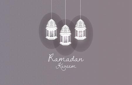 religious celebration: Lantern Ramadan Kareem on gray background
