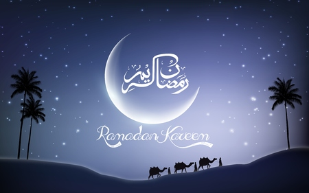 animal silhouette: Ramadan kareem with camel walks through in desert on night day