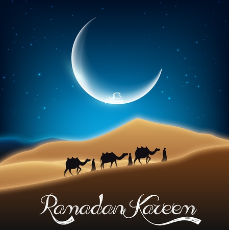night and day: Ramadan kareem with camel walks through in desert on night day