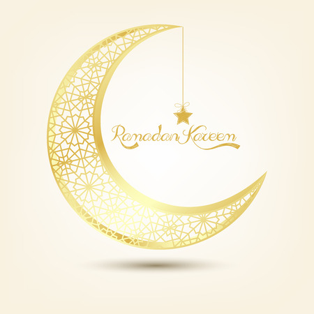 crescent: Golden crescent moon on brown background