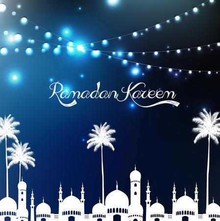 ramzaan: Ramadan kareem with mosque and palm tree