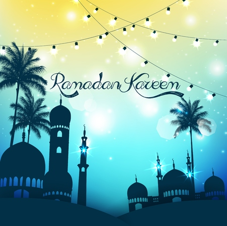 mosque illustration: Ramadan Kareem background with mosque and palm tree