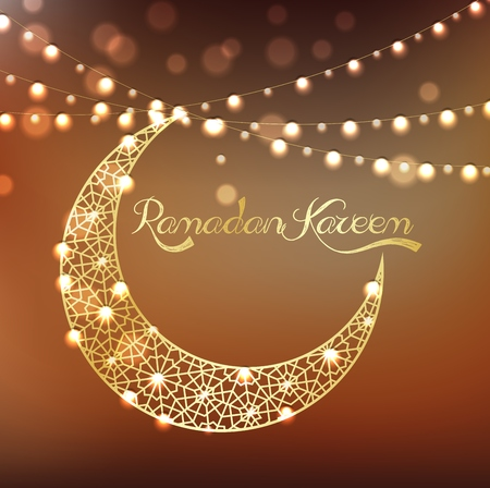 crescent: Golden crescent moon on bokeh background