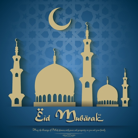 mohammad: Eid mubarak background with mosque and crescent moon
